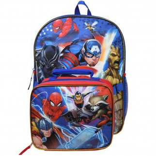 Marvel Avengers Kids School Backpack with Lunch Bag Set Boys Travel Tote