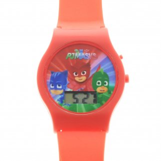 PJ Masks Boys LCD Wrist Watch Digital Style Adjustable Strap - Red
