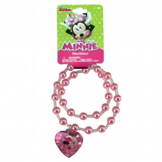 Disney Minnie Mouse Girls Pearl Necklace Jewelry Light Pink