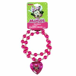 Disney Minnie Mouse Girls Pearl Necklace Jewelry Dark Pink