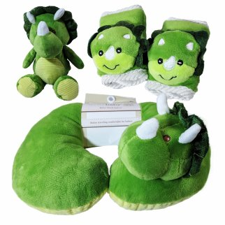 Kellybaby Green Dinosaur Soft Plush Baby Travel Bundle