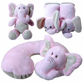 Kellybaby Pink Elephant Soft Plush Baby Travel Bundle