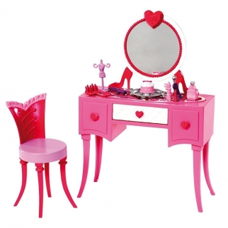 Barbie Glam Vanity Make Up Cosmetics Desk & Accessories Set