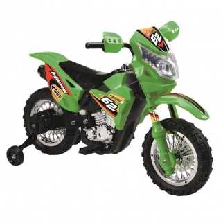 Mini Dirt Bike Motorcycle with Headlight 6V Kids Battery Powered Ride On Car in Green