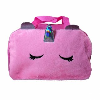 TychoTyke Furry Unicorn Duffle Bag Travel School Overnight Girls Pink Tote Bag