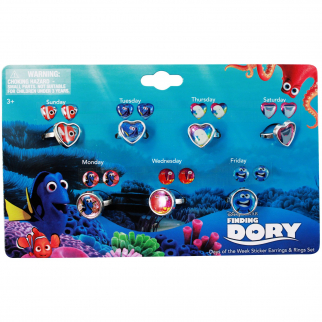Disney Finding Dory Girls Rings and Earrings Set Days of the Week