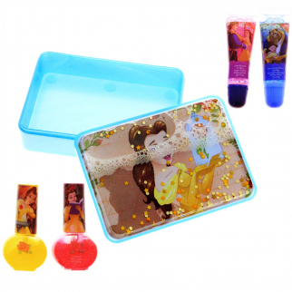 DIsney Princess Beauty and the Beast Lip Gloss Nail Polish Cosmetic Set
