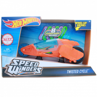 Hot Wheels Speed Winders Twisted Cycle Vehicle, Orange