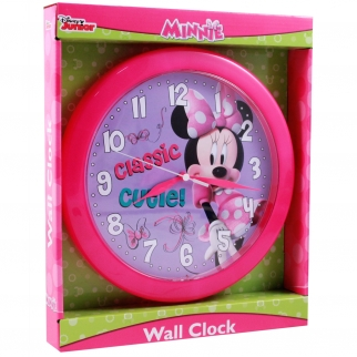 Girls Minnie Mouse Disney Analog Wall Clock Pink and Purple Home Decor