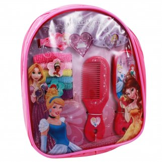 10 piece Girls Princess Dress Up Hair Accessory Backpack featuring Belle, Cinderella, and Rapunzel