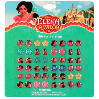 Disney Elena of Avalor 24 Pair of Sticker Earrings Dress Up Jewelry Gift Set