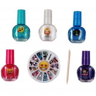 6pc Emoji Girls Nail Decoration Set with Sparkle Gems