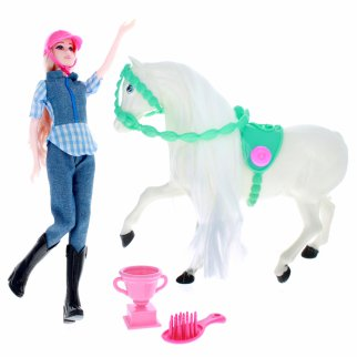 Blonde Doll and White Horse Show Play Set With Accessories