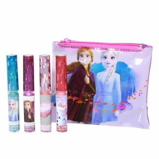 Frozen 2 Flavored Lip Gloss And Cosmetic Bag 5 Piece Set