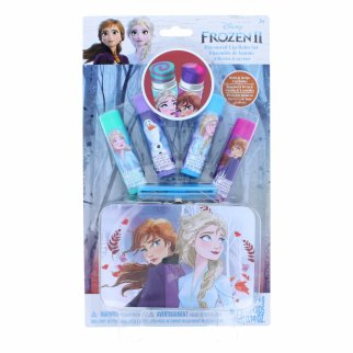 Disney Frozen 4 Pack Flavored Lip Balm Set with Metal Tin