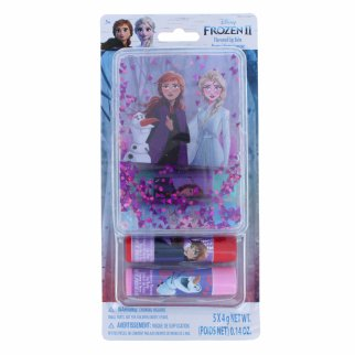 Disney Frozen 5 Pack Flavored Lip Balm Set with Glitter Case