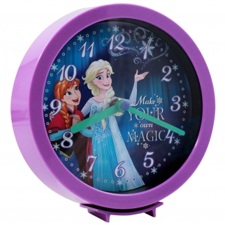 Disney Movie Frozen Princess Elsa and Anna Tabletop Desk Shelf Standing Clock or Hanging Wall Clock Children Decor Purple
