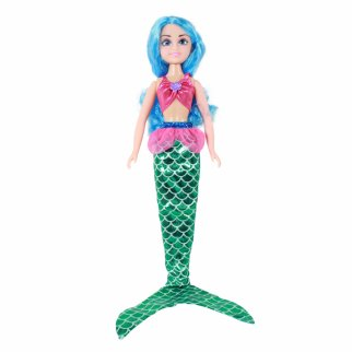 TychoTyke Girls Mermaid Princess Doll Blue Hair 7 Piece Gift