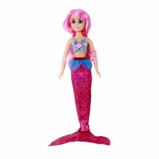 TychoTyke Girls Mermaid Princess Doll Pink Hair 7 Piece Gift