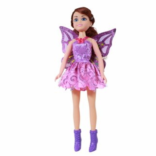 TychoTyke Girls Fairy Princess Doll Purple Dress 17 Inch