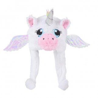 TychoTyke Kids Unicorn Plush Hat with Sparkle Ears - White