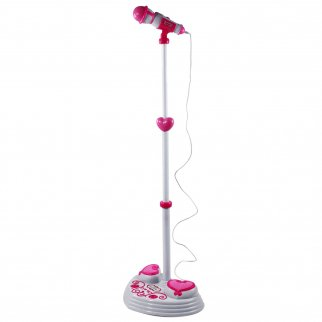 Rockstar Karaoke Kids Microphone Adjustable Stand Pop Star Musical Toy - Pink