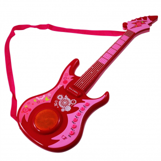 Guitar Star LED Pretend Play Light-up Rock Band Musical Instrument Toy- Pink