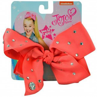 Nickelodeon JoJo Siwa Girls Hair Clip Style Bow Coral with Rhinestones Accessory