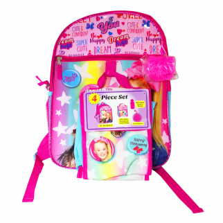 JoJo Siwa Girls School Backpack 4 Piece Set Water Bottle Lunch Bag Squishy Ball