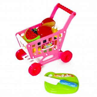 Kids Push Along Shopping Cart Pretend Play Toy with Grocery Accessories - Pink