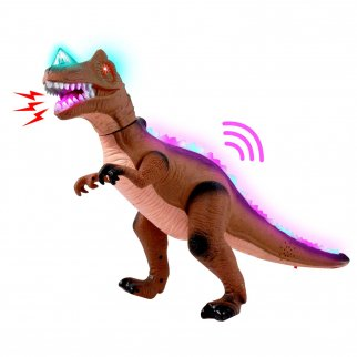 Light Up Dancing Dino RC T-Rex Dinosaur Predator With Radio Control - Brown