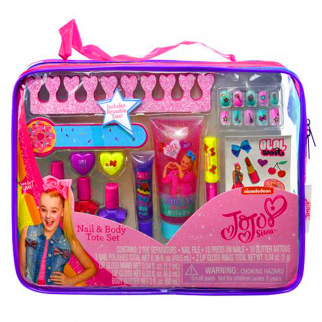 JoJo Siwa Girls Cosmetic Tote Bag Gift Set Kids Nail Polish Body Glitter Tattoos