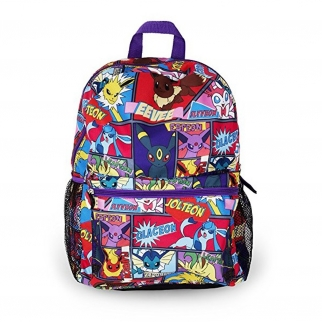 "Front View 16"" Back To School Pokemon Blue Backpack Featuring Pikachu, Charmander, Squirtle, and Bulbasaur"