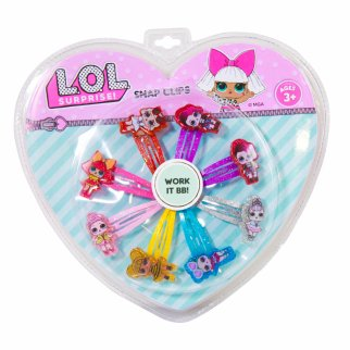 LOL Surprise 7 Piece Glitter Snap Hair Clip Figure Set