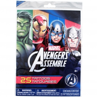 25 Marvel Avengers Temp Tattoo Themed Super Hero Boys Birthday Party Favor