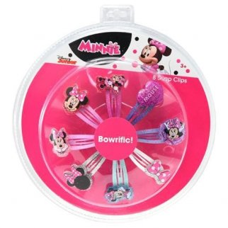 Minnie Mouse Glitter Snap Hair Clip Accessory 8 Piece Set