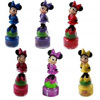 Disney Minnie Mouse non-toxic peelable nail polish 6pc girl's dress up and cosemtic set red, yellow, pink, blue, purple