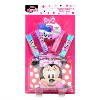 Disney Minnie Mouse 4 Pack Flavored Lip Balm Set with Case