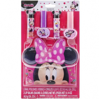 Disney Minnie Mouse Flavored Lip Balm Nail Polish Collectible Carrying Bag