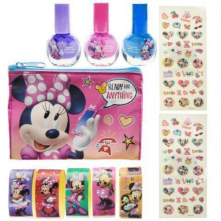 Disney Minnie Mouse Brightly Colored Nail Polish Sticker Set with Carrying Bag