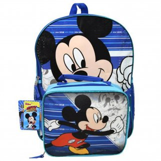 Disney Mickey Mouse Kids School Backpack with Lunch Bag Set Travel Tote