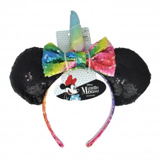 Disney Sequin Minnie Mouse Ears Unicorn Headband - Black