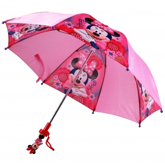 Disney Minnie Mouse Bowtique Kids Toy Umbrella With Molded Character Handle Open