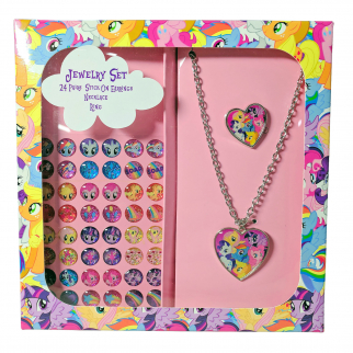 My Little Pony Girls Jewelry Set Stick On Earrings Necklace Ring Gift Box Set