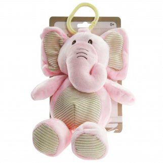 TychoTyke Baby Plush Stuffed Animal Rattle Toy Clips On Pram Pink Elephant