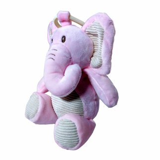 TychoTyke Clip On Baby Rattle Pram Accessory Pink Elephant