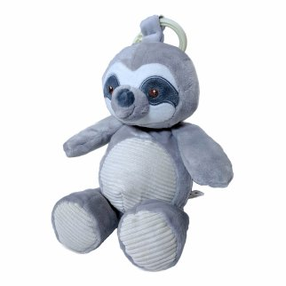 TychoTyke Baby Plush Stuffed Animal Rattle Toy Clips On Pram Grey Sloth