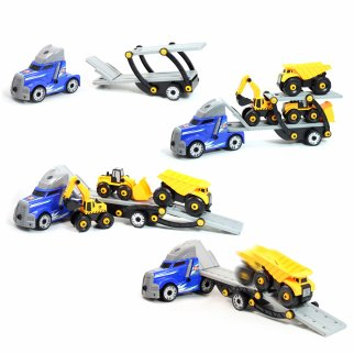 Kidplokio 48pc Giant Engines DIY Construction Semi Truck Blue