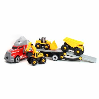 Kidplokio 48pc Giant Engines DIY Construction Semi Truck Red