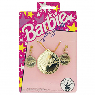Barbie for Girls Gold Earrings Necklace Set Pretend Play Dress Up